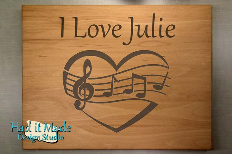 Music Note Heart Cutting Board H1