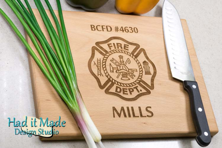 Firefighter Maltese Cross Cutting Board Fire1
