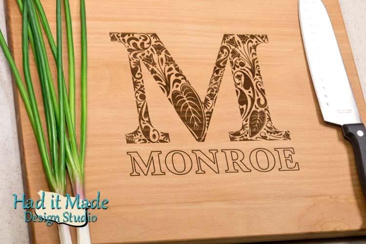 Floral Monogram Cutting Board M21