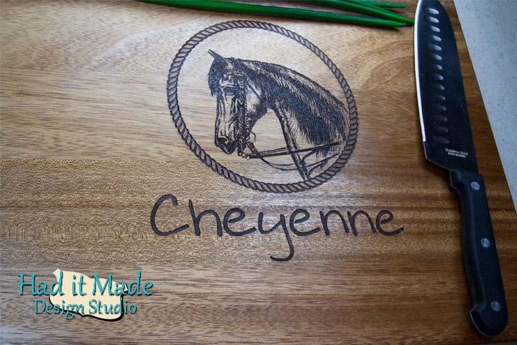 Equine Scene Cutting Board W2